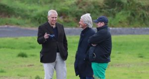 Prince Andrew with solicitor Paul Tweed (centre) at Royal Portrush Golf Club in Co Antrim for  the Duke of York Young Champions Trophy on September 9th, 2019. Photograph:  Liam McBurney/PA Wire