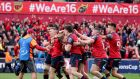 Munster's Andrew Conway celebrates his try against Toulon with team-mates in last year's quarter-final clash at Thomond Park. Photograph: Dan Sheridan/Inpho