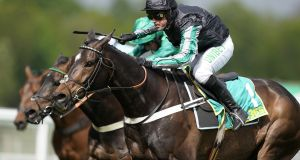 Nico de Boinville riding Altior clear the last to win The bet365 Clebration Steeple Chase at Sandown Park in April. Photograph: Alan Crowhurst/Getty