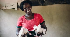 Poultry producer Josephine Awilli. Access to a small loan and training in animal husbandry allowed her to start rearing chickens. In a matter of months, she has gone from having 150 birds to 300.  Photograph: Fionn McCann Photography
