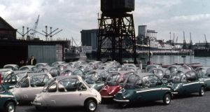 Heinkel Kabine bubble cars line up at Dublin Port waiting for export. Photograph: Dublin Port Archive