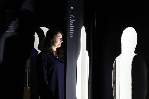 DOMESTIC VIOLENCE: Mary O'Connor from Women's Aid stands inside an art installation which bears the names of women and child victims of murder. The charity today released new figures on domestic violence and murder in Ireland. Photograph: Nick Bradshaw