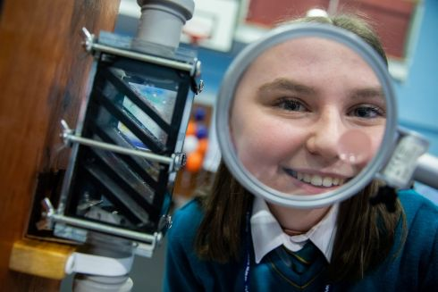 NO FILTER: Ruth Madden pictured with her microplastic filter project at this year's SciFest national finals at the Marino conference centre, Dublin. Photograph: Keith Arkins