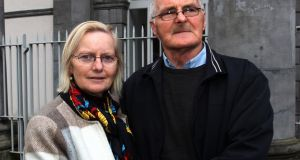Sean Barrett, father of Sean   Hayes Barrett  who  died in Limerick prison in 2017 is pictured here after the inquest with his sister Eileen Sheehan. Photograph: Brendan Gleeson