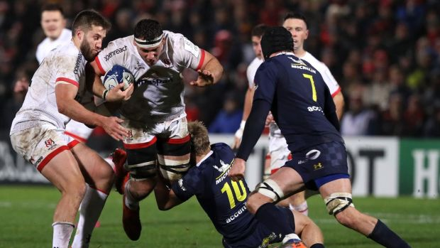 Ulster's Marcell Coetzee is tackled by Clermont Auvergne's Jake McIntyre during the Heineken Champions Cup game at Kingspan stadium in Belfast. Photograph: Brian Lawless/PA Wire