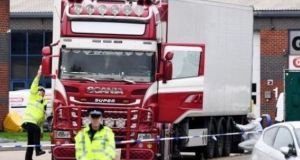Police and forensic officers investigate the lorry in which 39 bodies were discovered in the trailer  in  Essex. File photograph: Leon Neal/Getty Images