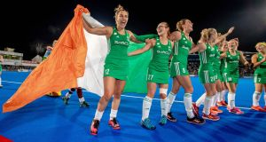 Irish players celebrate qualifying for the 2020 Tokyo Olympics after their win over Canada. Photograph: Morgan Treacy/Inpho