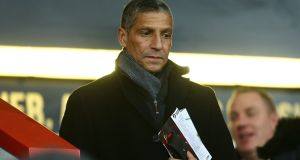 Chris Hughton is seen at the Premier League match between AFC Bournemouth and Wolverhampton Wanderers earlier this month. Photograph: Jordan Mansfield/Getty Images