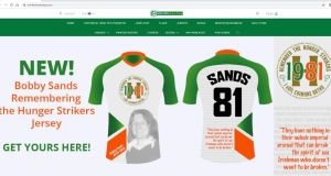 "The site is currently promoting ""Bobby Sands: Remember the Hunger Strikers"" jerseys featuring the number 81 on the back"