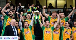Corofin celebrate with the Connacht club trophy. Photograph: Evan Logan/Inpho