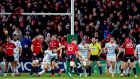 Munster's JJ Hanrahan misses a late drop goal against Racing 92 at Thomond Park, Limerick. Photograph: Ryan Byrne/Inpho
