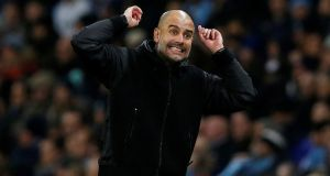 City manager Pep Guardiola during the game against  Chelsea at the  Etihad Stadium, Manchester.  City won 2-1. Photograph:  Reuters/Andrew Yates