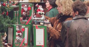 Late night Christmas shopping in Dunnes Stores in 1997. Photograph: Frank Miller