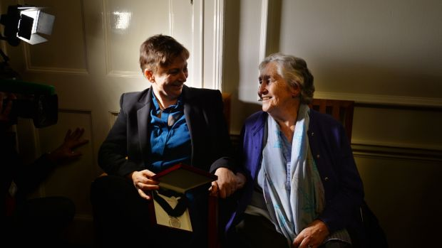 Anne Enright, at her inauguration as the first Laureate for Irish Fiction, with her mother Cora. Photograph: Alan Betson