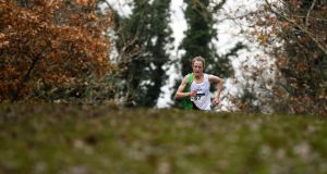 Fionnuala McCormack of Kilcoole A.C., Co. Wicklow, on her way to winning the Senior Women's event during the Irish Life Health National Senior, Junior & Juvenile Even Age Cross Country Championships at the National Sports Campus Abbotstown. Photo: Sam Barnes/Sportsfile