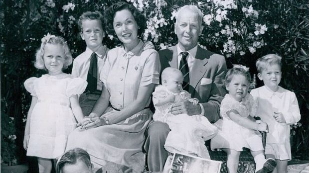 A photo of Maureen O'Sullivan and family, with Mia on the left, taken in 1950. Photograph: Wikimedia Commons