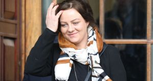 Leanne Moore,  mother  of Jamie Cummins of College Green, Summerhill, Wexford pictured leaving the Four Courts  after a High Court action. Photograp: Collins Courts