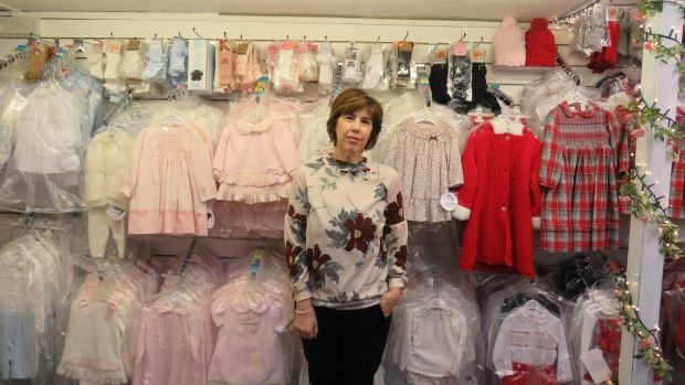 Jan Perry in her children's clothing store. Her main reservation is that she doesn't entirely trust Boris Johnson. Photograph: Jennifer O'Connell