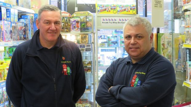 "Martyn Perry (left) and Dave Carter of Arcade Toys. ""I think we need to get Brexit done, so we can get on and get law and order and the NHS sorted,"" says Martyn. Photograph: Jennifer O'Connell"