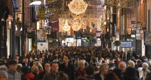 Shoppers on Grafton Street in Dublin. The city council has approved its budget for 2020, which includes a 3 per cent rate increase for businesses. Photograph: Artur Widak via Getty