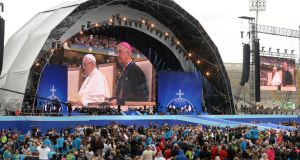 Pope Francis at the celebration for 2018 Festival of Families, at Croke Park, Dublin. Media coverage of clerical abuse  and the publicity leading up to the visit impacted those abused as children. Photograph: Dara Mac Dónaill