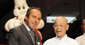 Michelin director Jean-Luc Naret  with chef  Jiro Ono of Sukiyabashi Jiro during a presentation of the  Michelin Guide Tokyo in 2008.  Photograph: Yoshikazu Tsuno/AFP via Getty Images