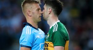 Dublin and Kerry will meet in the opening night of the Allianz Football League at Croke Park on Saturday January 25th. Our photo shows Jonny Cooper and Paul Geaney squaring up at Croke Park during the  All-Ireland final replay in September. Photograph: James Crombie/Inpho