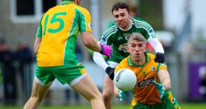 Corofin's Kieran Fitzgerald believes by the time his side's All-Ireland club semi-final against Gaoth Dhobhair was played last year, the GAA public's attention had wandered and moved on to the by then up-and-running national leagues. Photograph: Tommy Dickson/Inpho