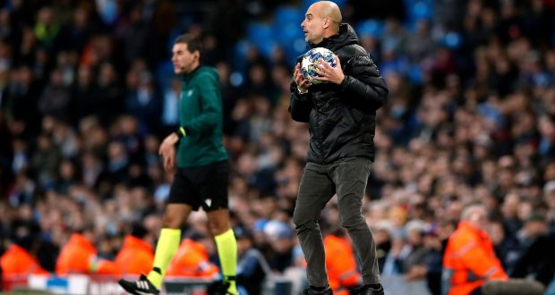 Pep Guardiola saw his Man City side progress to the last-16 of the Champions League after a 1-1 draw at home to Shakhtar Donetsk. Photograph: Martin Rickett/PA