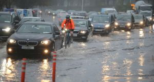 Flooding  is seen on the Rock Road in Dublin on Tuesday following heavy rain. Photograph Nick Bradshaw/The Irish Times