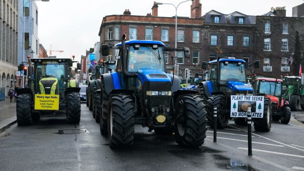 Farmers and tractors during a protest by farmers over farm produce prices at St Stephen's Green, Dublin. Photograph: Collins