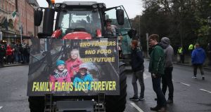 Tractors parked on the streets around St Stephen's Green in Dublin city centre during a protest by farmers over the prices they get for their produce. Photograph: Brian Lawless/PA