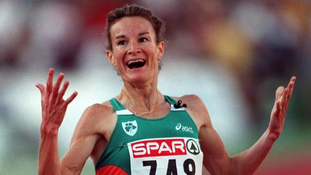 Sonia O'Sullivan winning a gold medal at the European Athletic Championships in Budapest, Hungary, in 1998. Photograph: Patrick Bolger/Inpho