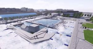 A computer-generated image of the proposed white-water rafting facility at George's Dock, Dublin. Image: Smart Docklands/YouTube