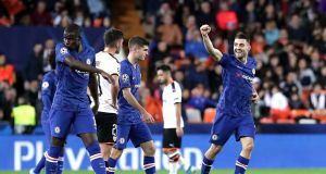 Chelsea's Mateo Kovacic celebrates after scoring his team's first goal during the  Champions League Group H match against Valencia  at the  Mestalla. Photograph: Gonzalo Arroyo Moreno/Getty Images