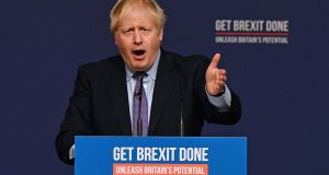 UK prime minister Boris Johnson speaks during an event to launch the 2019 Conservative Party general election manifesto on Sunday in Telford, central England. Photograph: AFP via Getty Images