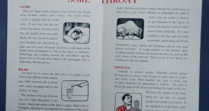 The Department of Health's advice on treating sore throats, part of the 'Health Hints For The Home' package of eight leaflets distributed to Irish households in 1953.