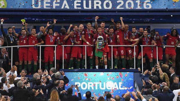 Portugal are the defending European champions, after their success at France 2016. Photograph: Laurence Griffiths/Getty