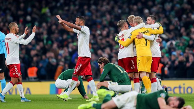 Ireland missed out on automatic qualification for Euro 2020 after a 1-1 draw with Denmark. Photograph: Ryan Byrne/Inpho