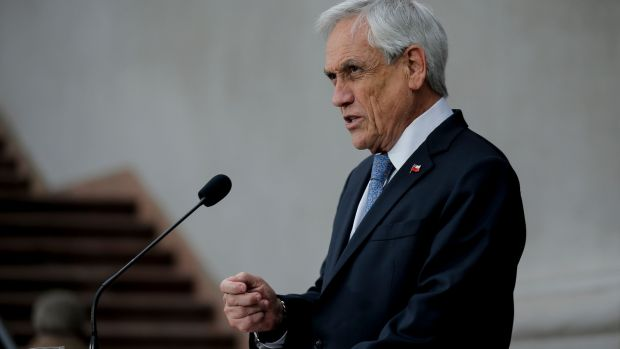 Chilean president Sebastian Pinera speaks during a press conference at La Moneda Presidential Palace in Santiago in September. Photograph: Javier Torres/AFP via Getty Images