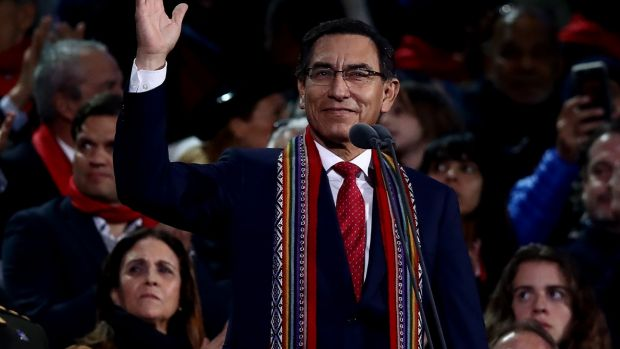 President of Peru Martin Vizcarra officialy inaugurates the Lima 2019 Pan American Games at Estadio Nacional in July. Photograph: Ezra Shaw/Getty Images