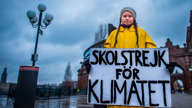 Swedish climate activist Greta Thunberg protesting outside parliament in 2018. File photograph: Hanna Franzen/TT News Agency/AFP/Getty Images