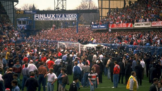 The scene at Hillsborough in Sheffield in 1989. Photograph: David Cannon/Allsport
