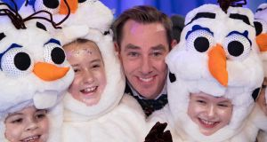 Ryan Tubridy pictured with some of the participants on the set of the Late Late Toy Show  at a preview event on Thursday.  Tubridy will play the character of Olaf the snowman in a Frozen-themed opening number. Picture Colin Keegan/Collins Dublin