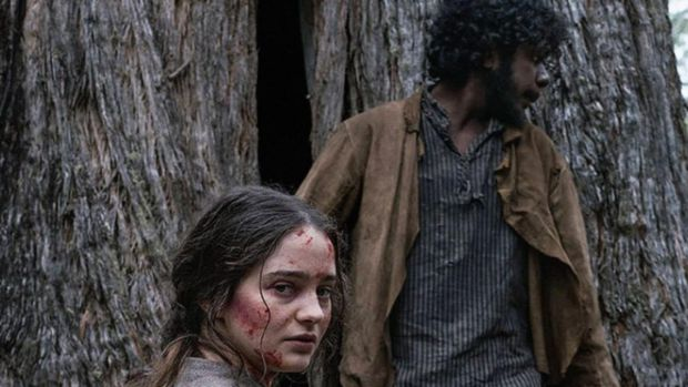 Aisling Franciosi and Baykali Ganambarr in The Nightingale