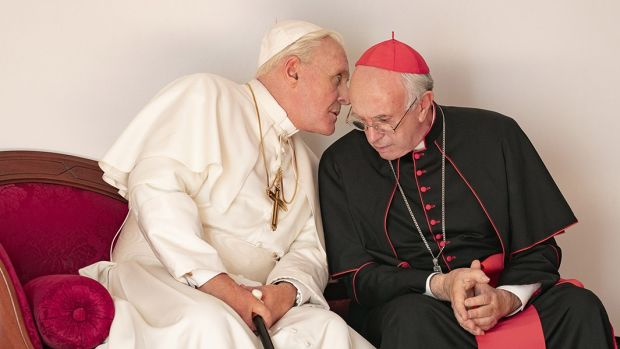 Anthony Hopkins and and Jonathan Pryce in The Two Popes