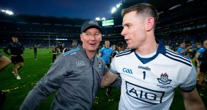 Jim Gavin and Stephen Cluxton celebrate Dublin's victory over Kerry which clinched the five in a row in September. Photo: Tom Honan