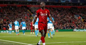 Liverpool's Sadio Mané in action against Napoli on Wednesday night at Anfield. Photograph: Martin Rickett/PA Wire