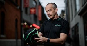 Conor O'Shea at the launch of N-Pro Headguard. Founded in Galway, N-Pro is the first headguard of its kind to be approved for global  trial by World Rugby and  to be used in competitive games at all levels. Photograph: Dan Sheridan/Inpho