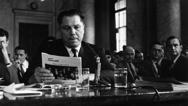 American labour leader Jimmy Hoffa (1913 - 1975), president of the Teamster's Union, testifying at a hearing into labor rackets in 1958. Photograph: Keystone/Getty Images